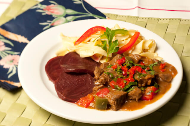 Typical meal: beef stroganof with beets and noodles