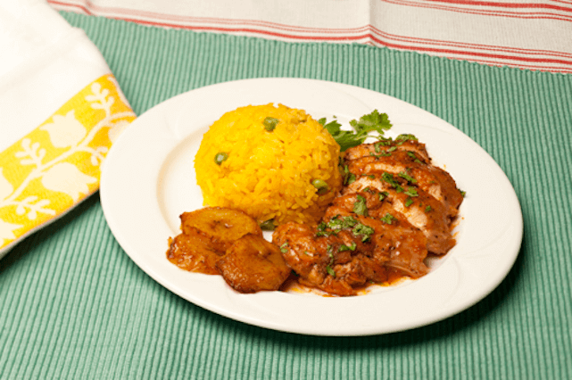 Example of diversity: seco de polo w/ plantain and saffron rice