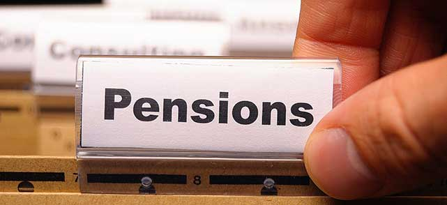 A file labelled Pensions