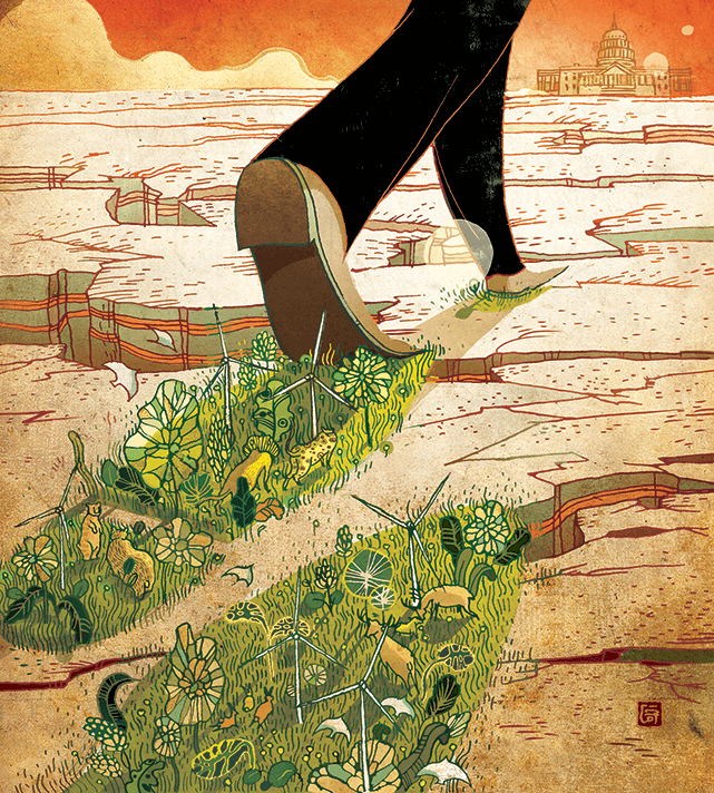 green footprint Illustration by Victor Ngai