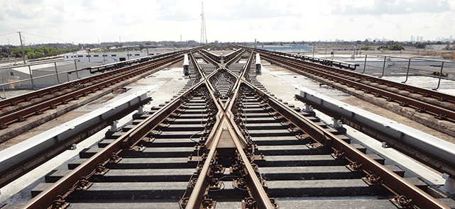 These railroad ties near Miami are made from 100 per cent recycled plastic
