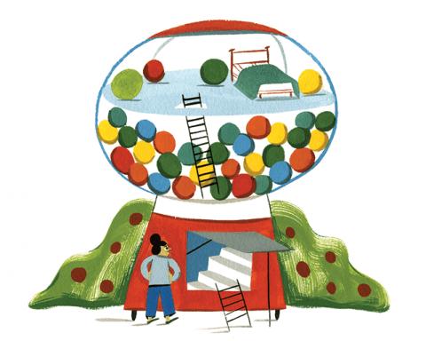 Pinball Illustration by Ping Zhu