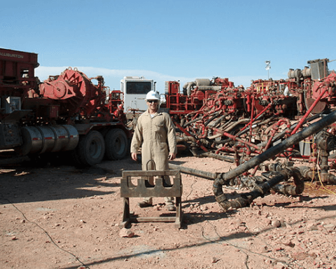 The process of mixing water with hydraulic fracturing fluids to be injected into the ground