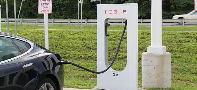 Tesla Model S charging at the Supercharger network station in Delaware.