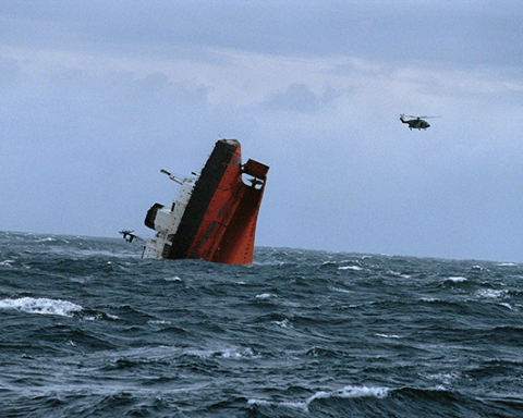 Oil tanker MV Erika sinks in the French Atlantic. Photo by Jean Gaumy/Magnum Photos