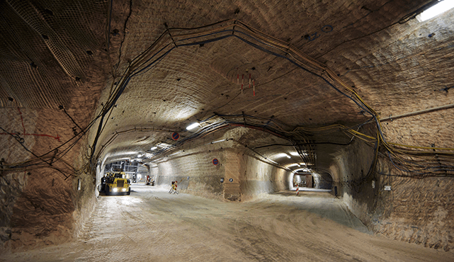 Miners work in a tunnel in the Gorleben Mine, Germany, on July 3, 2013. The mine holds nuclear waste on a temporary basis.