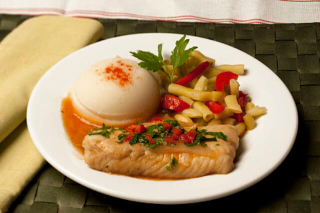 Typical Meal: Fish w/ whipped potatoes and wax beans