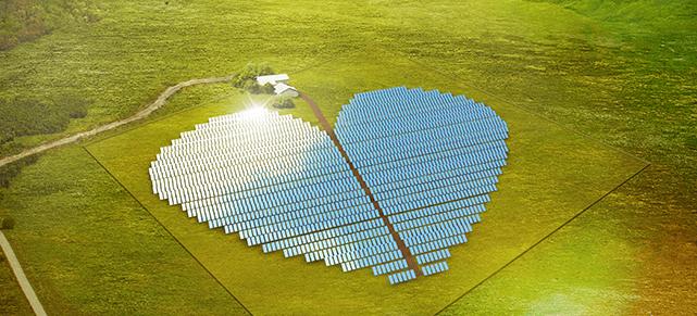 Solar panels arranged in a heart shape