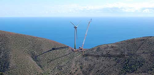 A wind turbine is erected on a hilltop on El Hierro, part of the Canary Islands.