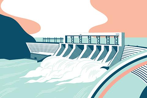 Hydro Dam Illustration by Stephane Poirier