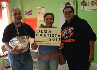 Bautista (right) with two supporters of her campaign for alderwoman of southeast Chicago