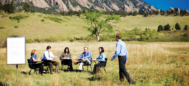meeting in a field