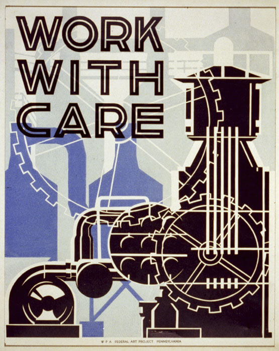 A vintage work safety poster from the Library of Congress.