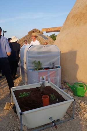 A family biogas unit forms part of a demonstration village of offgrid technologies in Kibbutz Ketura, north of Eilat.