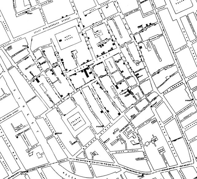 John Snow's cholera map of Soho. Click to enlarge.