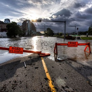 Riverfront Avenue in Calgary during the 2013 Alberta floods. Photo by Ryan L. C. Quan