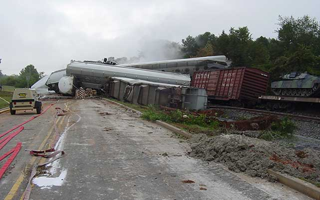 In Sept. 2002, 27 railcars jumped their tracks in Farragut, TN, spilling sulphuric acid.
