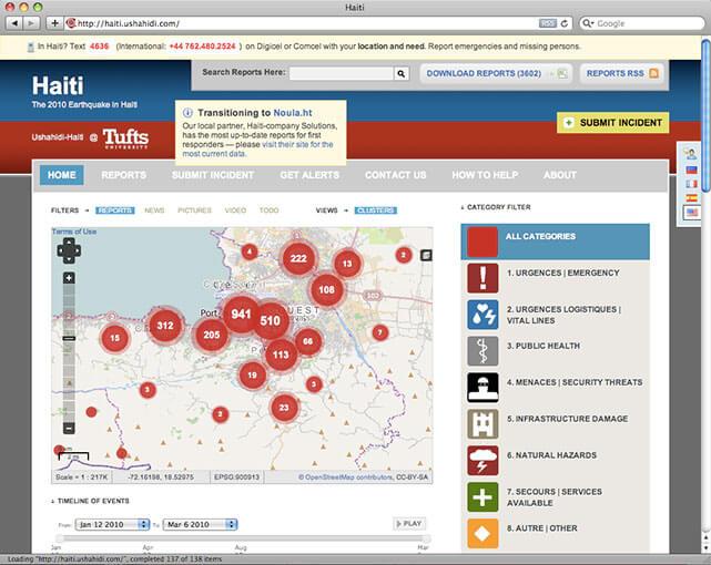 The Ushahidi Haiti Project in action.