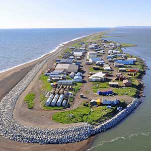 Facing coastal erosion, the village of Kivalina, Alaska, sued several large energy companies, claiming that global warming had resulted in its forced relocation.  Photo by ShoreZone
