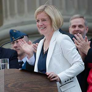 Rachel Notley after being sworn in as the 17th Premier of Alberta. Photo by Connor Mah