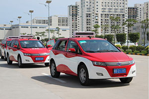 BYD e6 electric taxis in service in Shenzhen, China