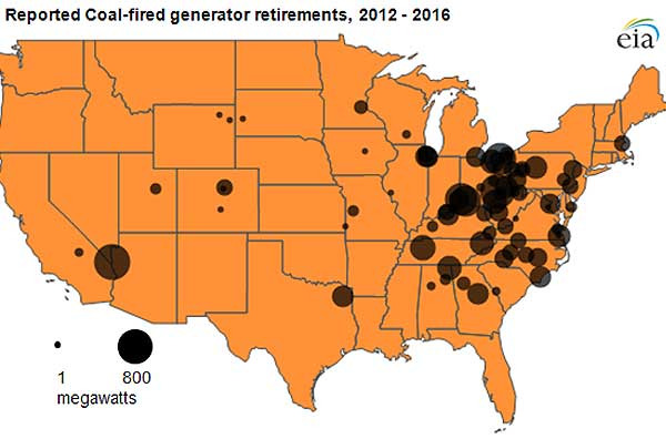 Reported coal-fired generator retirements, 2012-2016. Click to enlarge.