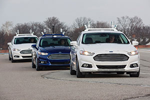 "Automated vehicles could boost fuel efficiency by ""platooning,"" or following each other closely to reduce drag. Photo of automated Ford Fusion Hybrid research vehicles courtesy of the Ford Motor Company Media Center"