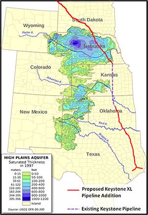 Keystone's original proposed route would have passed over the Ogallala Aquifer