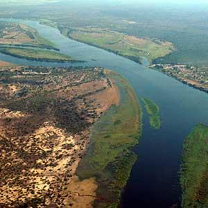 Zambezi River at the junction of Namibia, Zambia, Zimbabwe and Botswana
