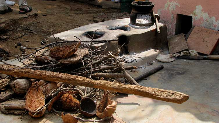 A traditional outdoor cookstove in rural Tamil Nadu, India.