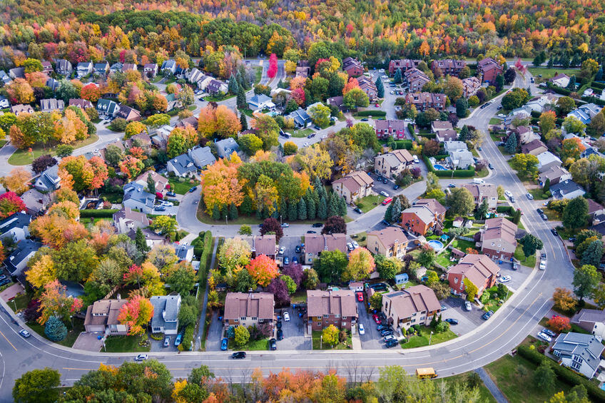 Aerial View of Residential Neighbourhood in Montreal During Autu