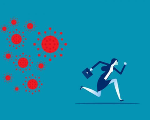 Businesswoman run away from COVID 19 virus. Implications for business
