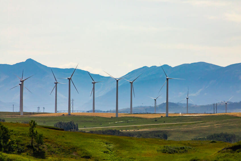Group of turbines in a rural wind farm