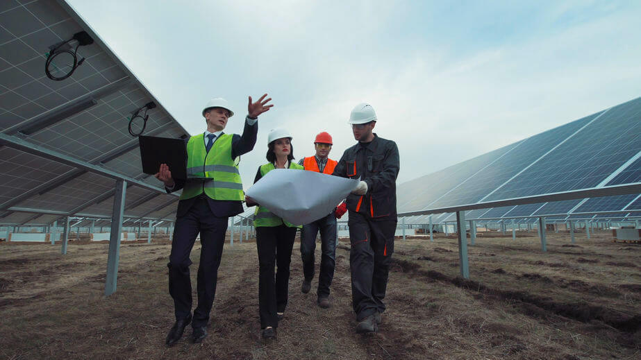 Solar farm workers