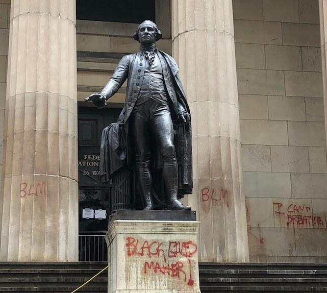 Black Lives Matter graffiti on Wall Street.