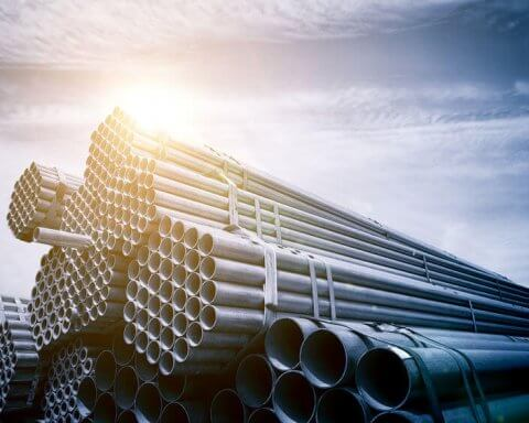 Large steel factory pipes
