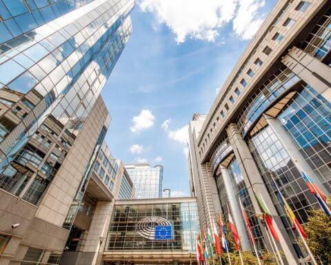 European parliament building in Brussels