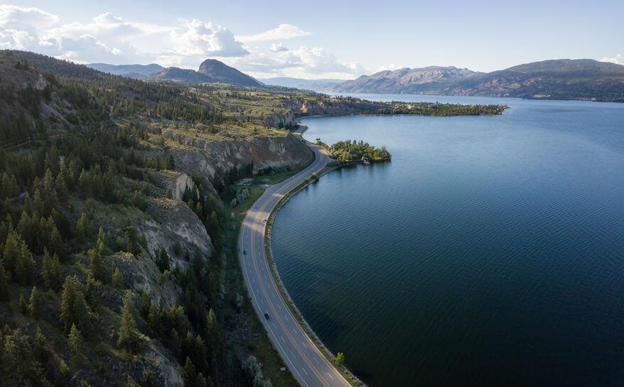 Aerial panoramic view of Okanagan Lake